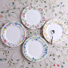 Dinner Plates Flower Pattern Ceramic Plate Dinnerware Porcelain Flat Plates Pastry Cake Tray Party Plate Dishes Fruit Dish