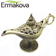 ERMAKOVA Metal Aladdin Magic Lamp Hollow Retro Wishing Oil Lamp Aladdin's Genie Lamp Incense Burner Home Desk Decor (Bronze)(China)