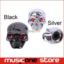 Black and Chrome Skull Head Electric Guitar Volume Tone Tuning Knob Bass Metal Tuner Pot Control Knobs(China)