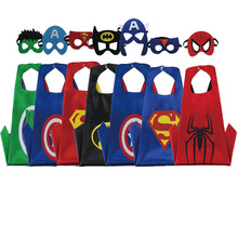 70*70cm/Kids Dress up Costumes Boys Superhero Capes Masks for Birthday Party Games Free Shipping(China)