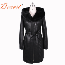 2017 new winter Faux fur coat women long suede Fashion Embroider Hooded Thickened warm resistant sexy bf plus size Bust 140 cm(China)
