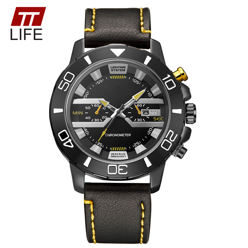 TTLIFE Sports Military Army Leather Mens Watches Analog Quartz Watch Men Two Eyes Decoration Waterproof Auto Date Wrist Watches<br><br>Aliexpress