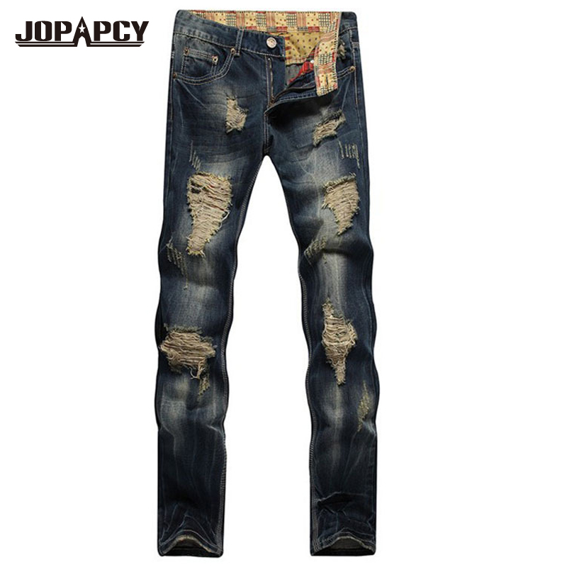 plus size Mens Hip Hop Jeans Fashion New male Straight Retro holes Patch Denim Pants Men ripped jeans masculina MYA0114Одежда и ак�е��уары<br><br><br>Aliexpress