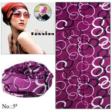 100pcs/lot Wholesale Nice Purple Circles Pattern 100% Polyester  Multifunctional Tubular Outdoor Bandana (Mix Design Available)