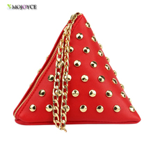 TRIANGULAR PYRAMID WRISTLET CLUTCH - Women's PU Leather Triangle Shape Vintage Fashion Stylish Design Small Casual Bag Purse