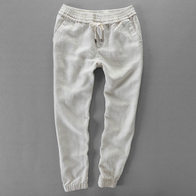 Japan style 100% linen pants men casual brand trousers men solid fashion elastic pants mens flax ankle-length trousers male 40
