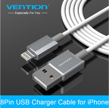 VENTION Latest metal Aluminum Wire 8 pin USB Date Sync Charging Charger Cable 1m for iPhone 5 5s 6 plus iPad 4 fit IOS8(China)