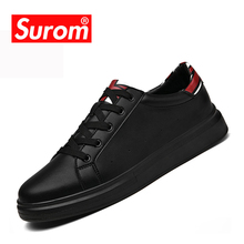 Buy SUROM Men's Spring Autumn Casual Shoes British Leather Breathable Lace Flat Sneakers 2018 New British Leather Student Shoes for $24.02 in AliExpress store