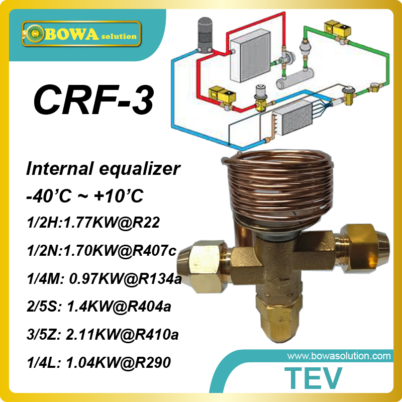 CRF-3 R404a 1.38KW cooling capacity, internal equilizer and SAE flare connection thermostatic expansion valve as throttle device<br><br>Aliexpress