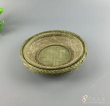 Bamboo Fruit Plate Basket Round Dishes Bowl Pratos Fruit Storage Trays Gift Vintage Crafts Home Decoration Photography Props(China)