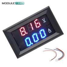 "Mini Digital Voltmeter Ammeter DC 100V 10A Panel Amp Volt Current Meter Tester 0.28"" Blue Red Dual LED Display"