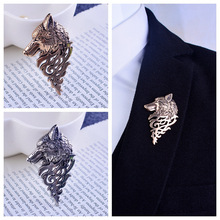 10PCS Vintage Personalized Wolf Head Brooch Upscale Unisex Animal Suit Collar Pin Buckle Broche Wolfhead Brooches Pins wholesale