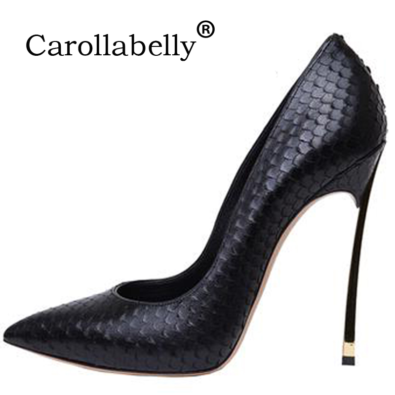 Women Pumps Stiletto Thin High Heels Sexy Shoes Woman Patent Leather Pointed  Toe 10cm 12cm Wedding 985f20c9dbc9
