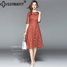 Simgent 2018 New Summer Women Fashion Three Quarter Flare Sleeves One Neck Hollow  Out A Line Lace Dress Robe Dentelle SG84261 3f8340444d76