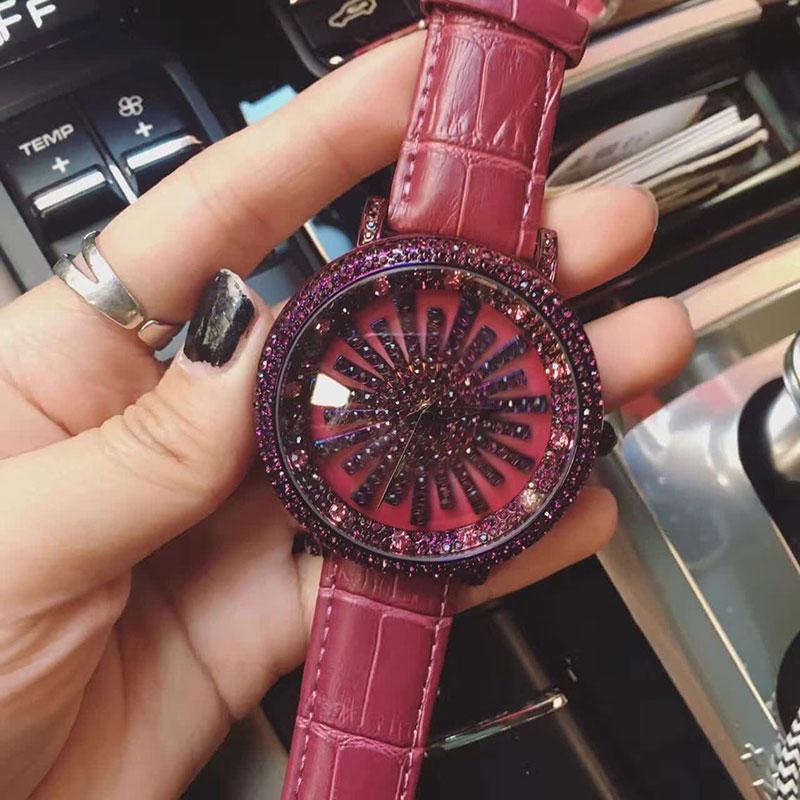 Luxury Brand Genuine Leather Women Watch Full Crystal Rotate Dress Watches Ladies Diamond Rhinestone Quartz With Logo Watch<br>