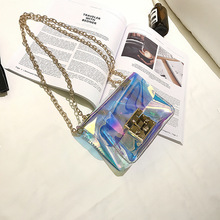 2017 Mini Flap Laser Bag Chain Small Square Bag Patent Leather Laser Shoulder Messenger Bag Crossbody Bags For Girls Purse