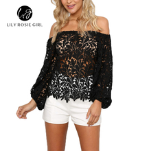 2016 Black Sexy Club Off Shoulder Hollow Out Women Blouses Summer Beach Style Long Sleeve Party Girls Blusas Shirts Tops