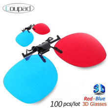 100 piece High quality Myopia Clip Red Blue 3D Plastic Glasses Make Eyes See 3D Effect Movie Game Passive TV magzine
