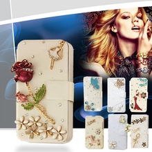 White case Bling Crystal Leather Wallet flip case cover for HTC Desire 626 bags Phone Protection Cover drill shell