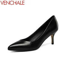 Buy VENCHALE newest classical convenient all-match style woman pumps high thin heels pointed toe genuine leather spring shoes 2018 for $39.60 in AliExpress store