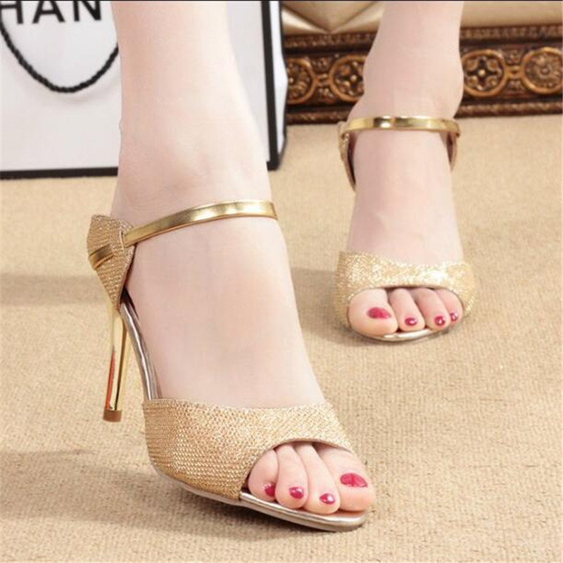 The summer with a new high with fine words, sandals shiny golden antiskid rubber soles fish mouth female sexy sandals<br><br>Aliexpress