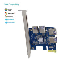 PCI Expansion Card To 4 Ports USB 3.0 Converter Adatper PCIE Riser Cards For Bitcoin Mining Device XXM8(China)