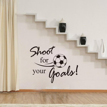 Shoot for Your Goals Kids Room Wall Decals Creative Football English Letters Wall Sticker Removable Home Decor Living Room