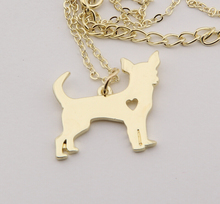 1pcs Gold Chihuahua Necklace Pendant Puppy Heart Dog Lover Memorial Pet Necklaces & Pendants Women Animal Charms Christmas Gift