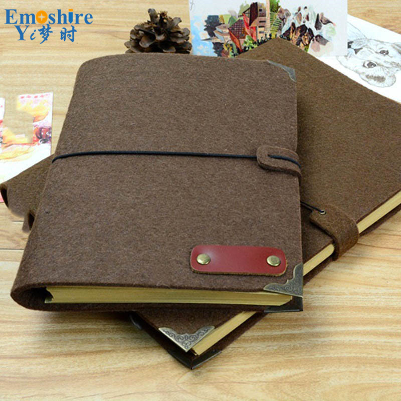 Vintage Handmade B5 Felt Travel Stationery Loose-leaf Notebook Felt Notebook Blank Writing Paper Note Books N088<br>