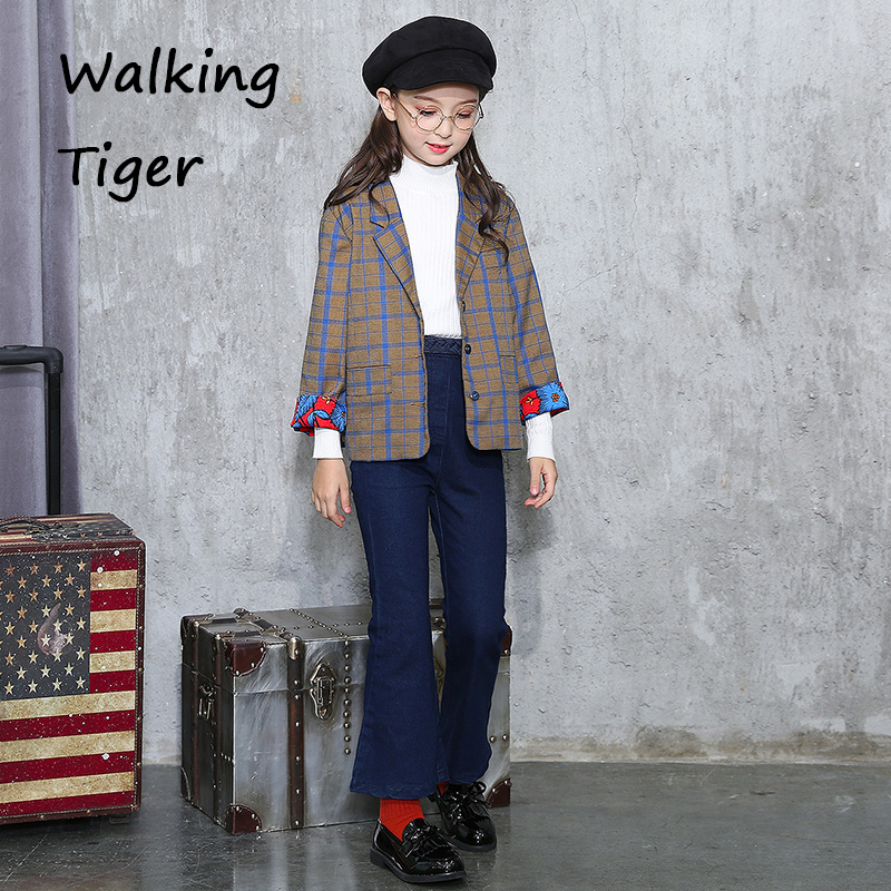 girls small suit coat blue stripe blazer casual suit clothing tops 2017 new autumn clothes  girl boutique outfits outerwear Coat<br>
