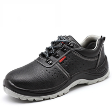 fashion plus size men breathable steel toe cap work safety summer shoes plate bottom genuine leather tooling boots factory site