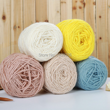 4 pcs 50g/pcs Natural Soft Thick Merino Wool Yarn Luxury Weave Thread Crochet Yarn For Scarf Fancy Yarns For Knitting 15 colors(China)