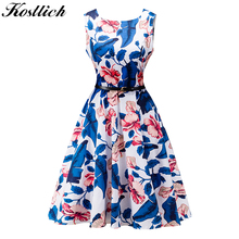 Kostlish 2017 Summer Dress Women Cotton Floral Print 50s 60s Vintage Dress With Belt Sleeveless Party Dresses Plus size Sundress