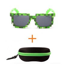2pcs/lot Fashion Minecraft Sunglasses Kids cos play action Game Toys Square Glasses with EVA case gifts (4 color)(China)