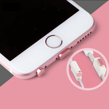 FFFAS Phone Aluminum Alloy PU Dust Plug Set for iPhone 7 7plus 5 5S 6 Earphone Jack 8 Pin Plug Anti Dust Plug Phone Accessories