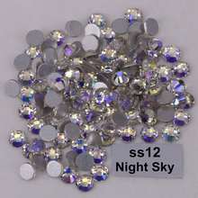 1440pcs/Lot, High Quality ss12 (3.0-3.2mm) Night Sky Glue On Flat Back Crystals / Non Hotfix Rhinestones(China)