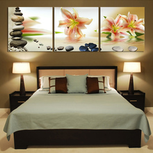 Hot sell 3 panels lily flowers modern art canvas wall paintings wall pictures for living room canvas prints cuadros decorativos(China)
