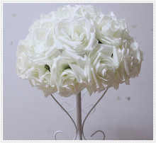 35cm*10 pcs Rose kissing ball artificial silk flower wedding decoration ivory color-2015 Newly design