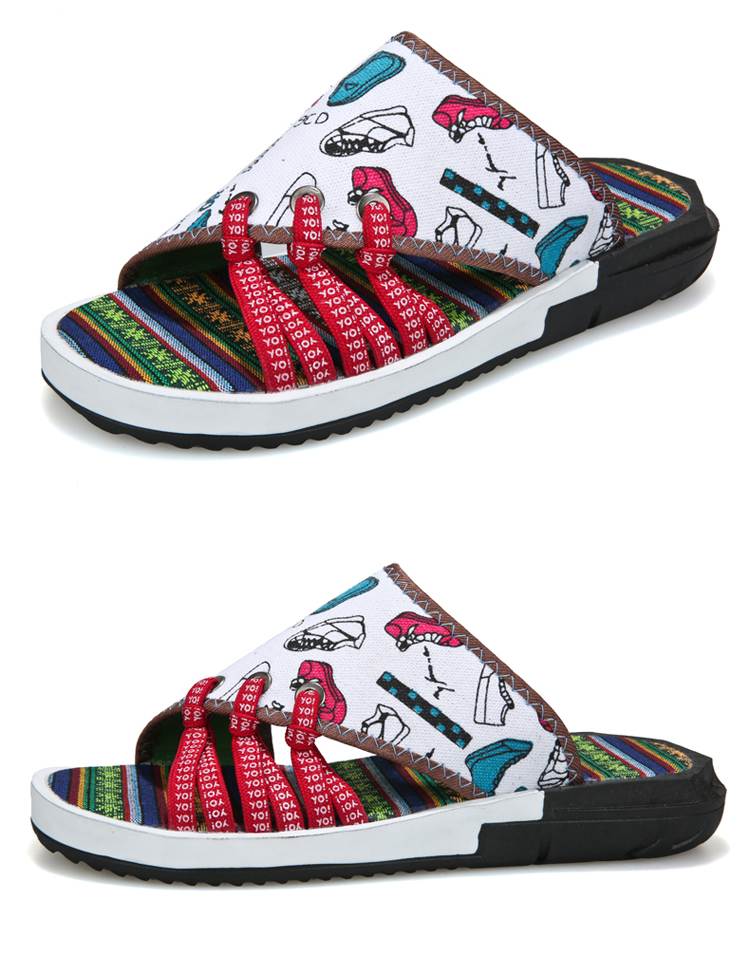 Fashion National style Men Slippers Casual Male Cotton Fabric Summer Outdoor Beach Shoes Non-slip Indoor Floor Leisure ShoesZ172 9 Online shopping Bangladesh