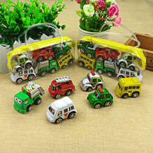 6pcs/lot Pull Back Car Toys Car Children Racing Car Baby Mini Cars Cartoon Pull Back Bus Truck Kids Toys For Children Boy Gifts(China)