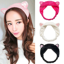 Women Girls Cute Cat Animal Ears Headband Soft Cotton Handmade Headwrap Lady girls Elastic Turban Hair band Hair Accessories(China)