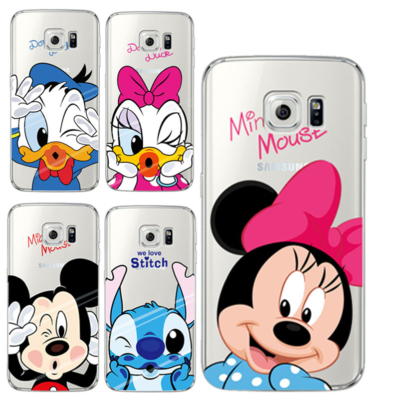 Cartoon Mickey Minnie Mouse Soft TPU Silicone Phone Case Samsung Galaxy S3 S4 S5 S6 S7 Edge A3 A5 J3 J5 2015 2016 Coque