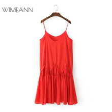 Buy 2018 Spring Dress Women Summer Dresses Casual V Neck Embroidered Red Dresses Elegant Spaghetti Strap Sexy Dress Vestidos D225 for $31.17 in AliExpress store