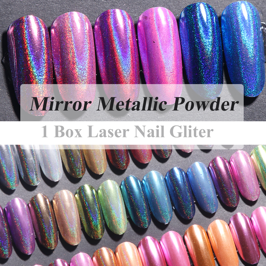 1pc Holographic Mirror Powder Rose Gold Metallic Laser Chrome Nail Powder Glitter Flakes DIP Pigment Nails Accessoires Dust  (2)