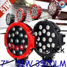 "Free DHL/UPS Ship,7"" 51W 3570LM 10~30V,6500K,LED working light;Free ship!Optional wire;motorcycle light,forklift,tractor light"