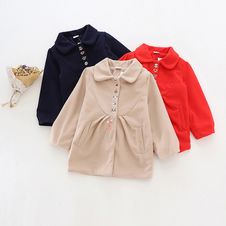 Winter Solid Embroidery wool coat girl Jackets windbreaker cashmere coat for pricess girls children warm soft outwear snowsuits<br><br>Aliexpress