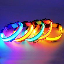 Pet Dog Collar Nylon LED Light Night Safety Light-up Flash Glowing in Dark Cat Collar LED Dog Collars Small Dogs Dog Accessorie