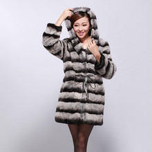 Luxury New Natural Furs Coats Genuine Fur Coat Woman Rex Rabbit Fur Overcoat Hooded Real Fur Coats For Women Chinchilla Coats(China)