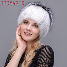 2017 new listing woman knitting hat mink plus fox plus rabbit fur real fur hat winter Russian woman hat warm protection ear(China)