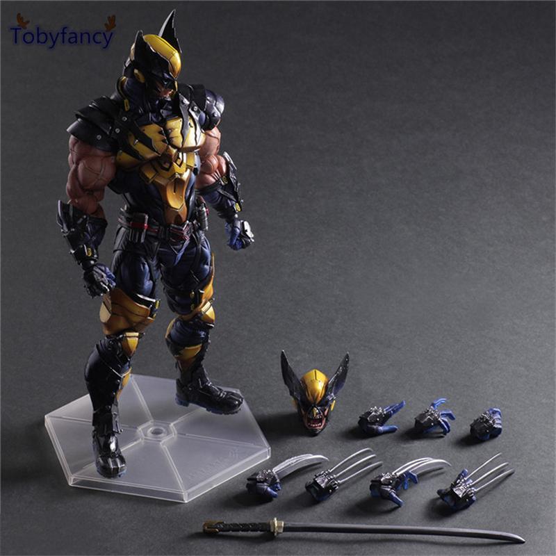 Tobyfancy Wolverine Figure LOGAN X Men X-MEN Play Arts Kai Wolverine James LOGAN Howlett PA KAI PVC Action Figure 26CM Doll Toy<br>